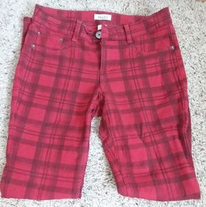 Red plaid jeggings